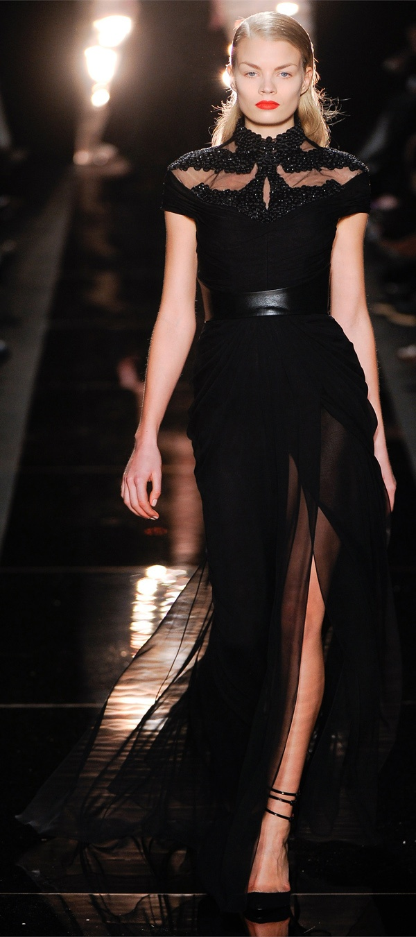 Monique Lhuillier Autumn/Winter 2012 - 2013. I love this sexy black gown, and I especially like the fantastic embroidered neckline.