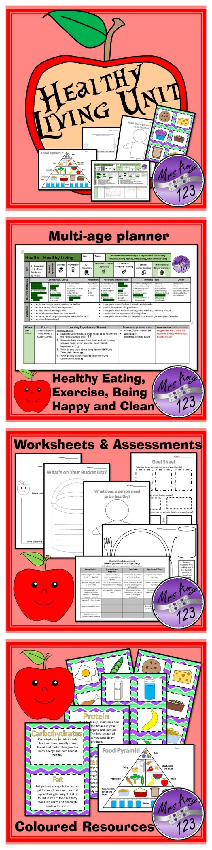 Healthy Living Unit - Healthy Eating, Exercise, Being Happy and Clean