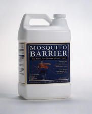 "Mosquito Barrier:""Just one spraying will keep mosquitoes, ticks and fleas out of your yard and away from your home, 24 hours a day for nearly a month...a very strong liquid garlic made from very potent garlic cloves. does not harm humans or pets or plants, but to mosquitoes it can be deadly. Odor becomes undetectable to humans within minutes."