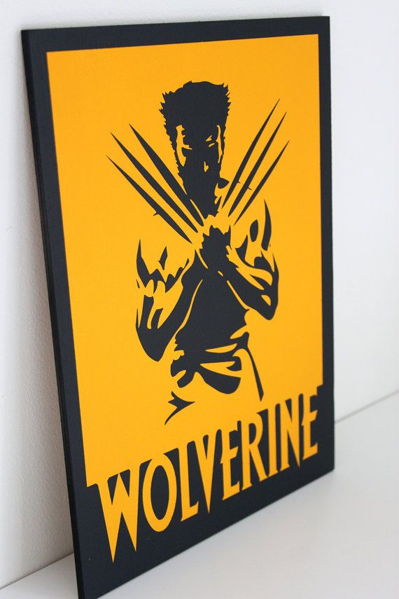 Wolverine painted wood sign, bright yellow and bold - perfect for any X-Men fan! 21cm x 29.7cm (A4)  This Wolverine painting is painted on to a 6mm plywood panel. It comes with a twine hanging loop on the back ready for wall hanging.   These paintings are usually held in stock but on occasion will be made to order. There may be some minor variations from the photos shown.