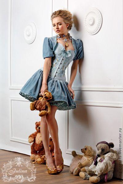 """Mini dress / Платья ручной работы. Ярмарка Мастеров - ручная работа. Купить Корсетное платье """"Версаль"""". Handmade. Голубой, ручная вышивка, эксклюзив"""
