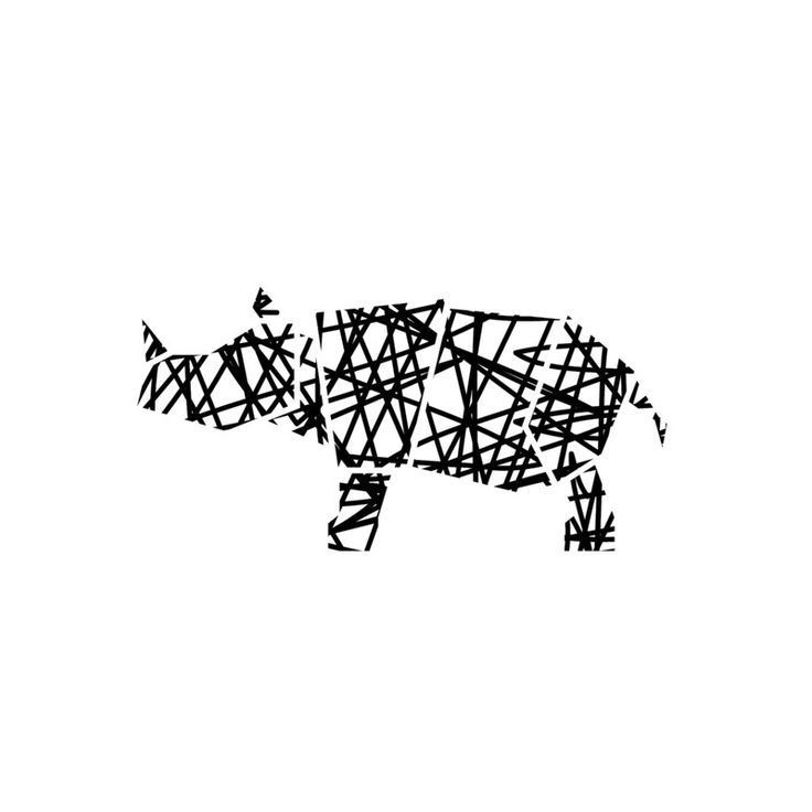 Modern Abstract Scribble Rhino Wall Art Prints by Noelle Stolworthy | Minted