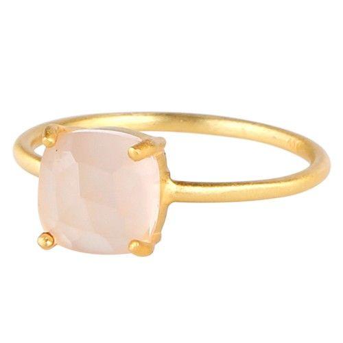 Fed 24 kt forgyldt sølv ring med kantet rosa calcedon ædelsten