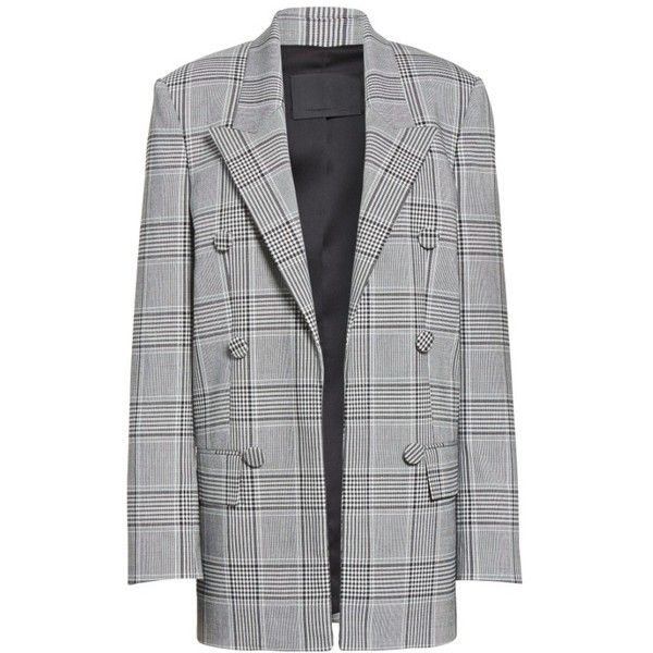 Women's Alexander Wang Leather Sleeve Check Blazer (€1.190) ❤ liked on Polyvore featuring outerwear, jackets, blazers, short-sleeve blazers, leather-sleeve blazers, checked blazer, double breasted jacket and tailor leather jacket