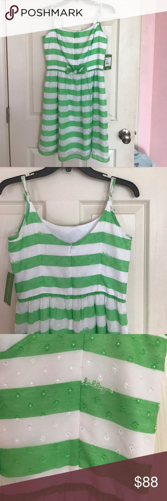 LILLY PULITZER green awning stripe dress 6 LILLY PULITZER dress- beautiful green and white striped with sweet bow in the front. NWT!! Retails for $198 but I got on sale for $138. I never got a chance to wear :-( Hoping to find a new loving home!! Armpit to armpit 16.5 length 29 Feel free to ask questions. No stains, tears holes or pulls. Lilly Pulitzer Dresses