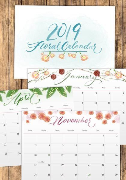 2019 Printable Floral Calendar Calendar Templates Pinterest