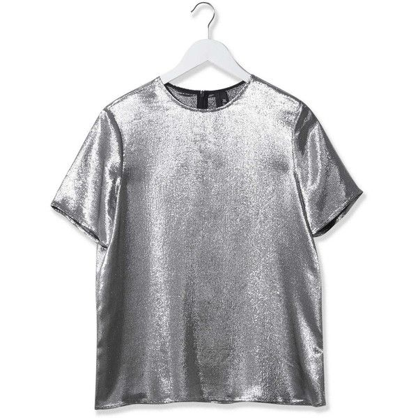 Lamé Tee by Boutique (£75) ❤ liked on Polyvore featuring tops, t-shirts, silver, boutique tops, going out tops, holiday party tops, boutique t shirts and party t shirts