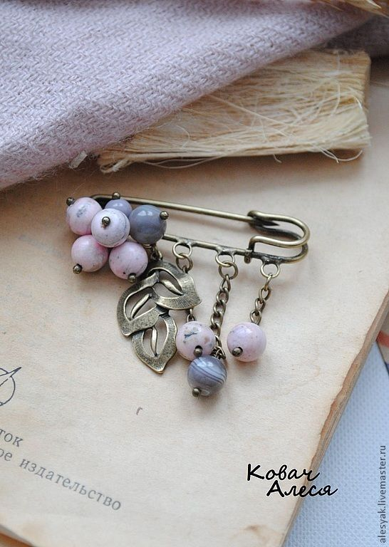 """Купить Брошь-булавка """"Розовое небо"""" - бледно-розовый, розовый, серый, розово-серый, брошь"""