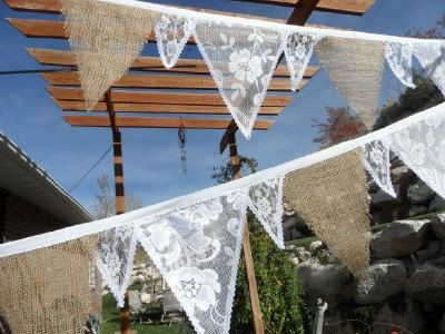 Burlap & IVORY Lace Fabric Bunting Wedding Banner 14 Ft Garland Of Flags via Etsy.