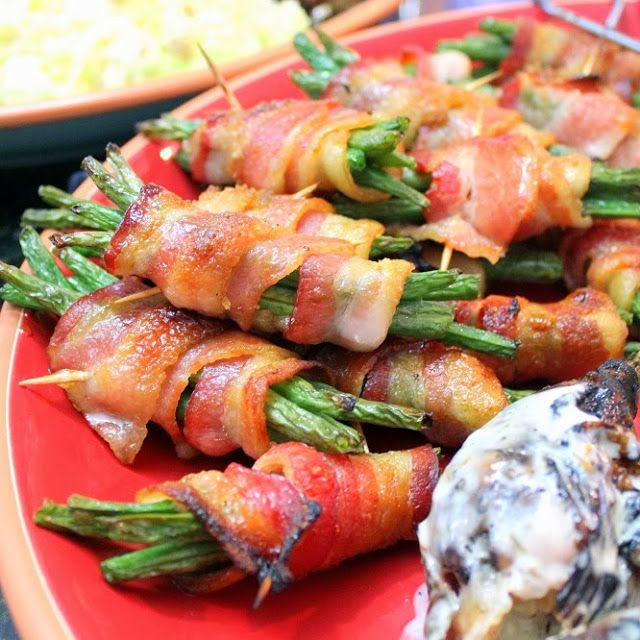 Inspired By eRecipeCards: Candy Bacon Wrapped Green Bean Bundles - Grilling Time Side Dish