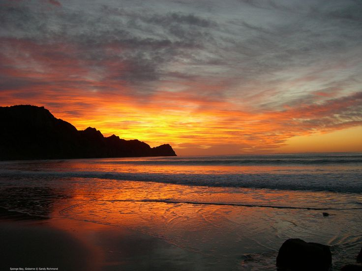Sunrise in the East at Sponge Bay, Gisborne  New Zealand