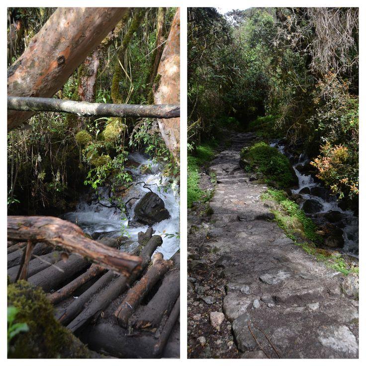 creek crossing on the Inca trail