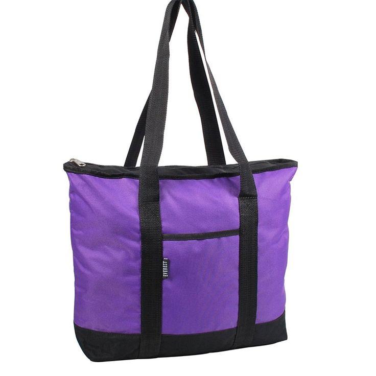 Dark Purple Black Shopper Tote Bag Interior Pocket Safe Keeping Polyester