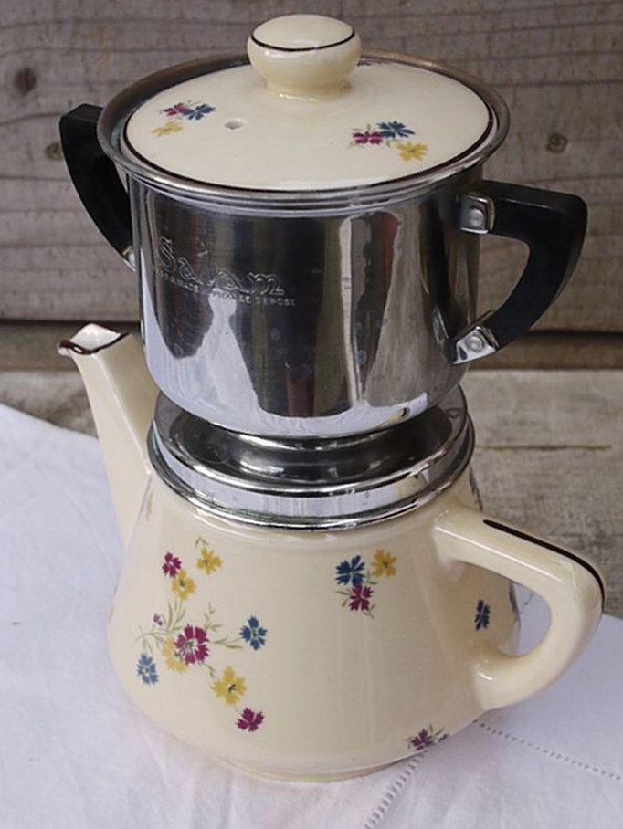 Mid Century French ceramic coffee pot or Teapot . Ancienne Cafetière Filtre Salam 50's . Kaffeekanne .  French Ceramic Teapot chic cotage de la boutique LaMachineaBrocantes sur Etsy