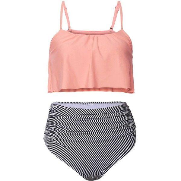 Striped High Waisted Ruffle Bikini Set (1475 RSD) ❤ liked on Polyvore featuring swimwear, bikinis, women's plus size swimwear, flutter bikini, plus size beachwear, striped bikini and plus size bikini swimwear