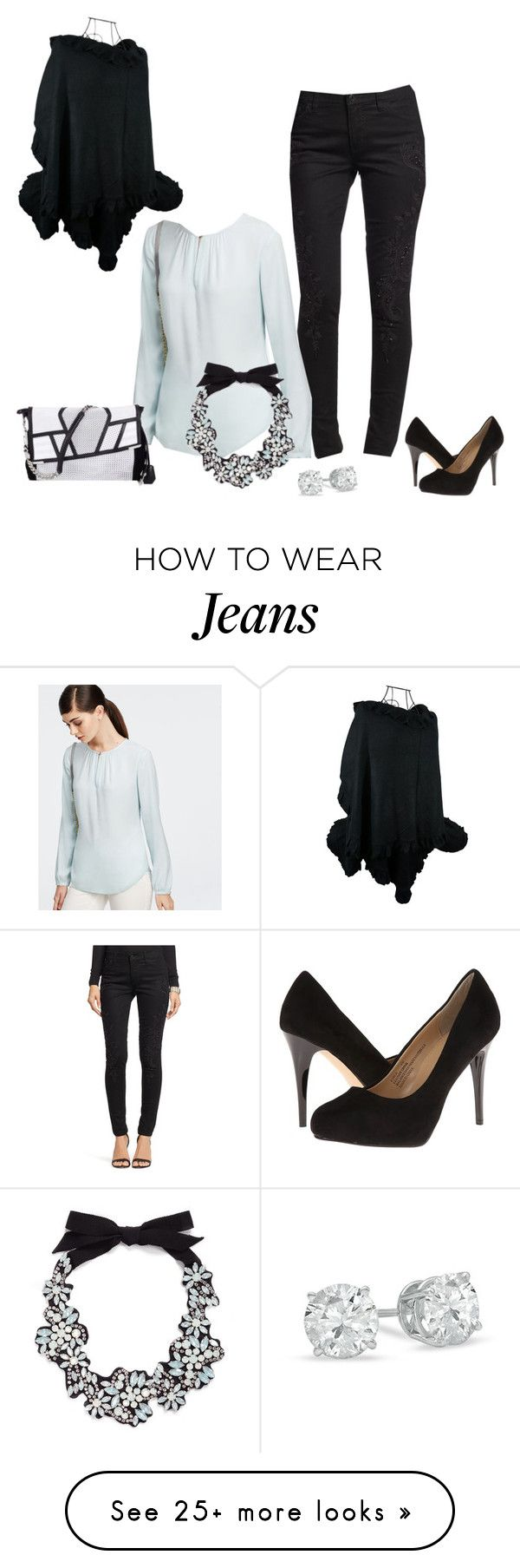 """""""Black Embellished Jeans"""" by fattyfox on Polyvore featuring Ann Taylor, J.Crew, rsvp, Zales, women's clothing, women's fashion, women, female, woman and misses"""