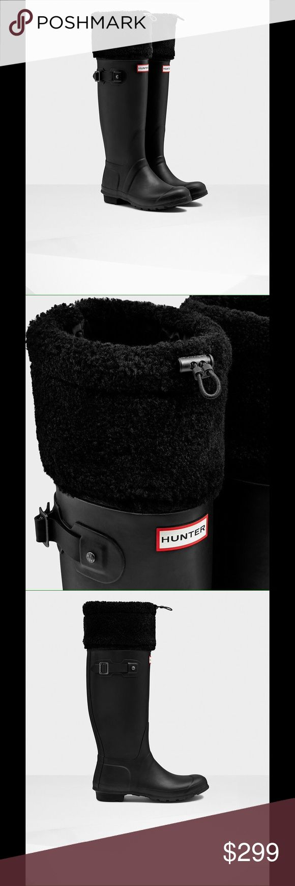 """Hunter Limited Shearling Fur-Cuff Welly rain Boots Hunter Limited Edition rubber welly boots with dyed sheep shearling (Australia) fur cuff. Comes with a Hunter branded drawstring bag. 1"""" flat heel, 15""""H shaft. Very stylish, chic, and warm. Perfect for the cold months / holiday seasons. New and never worn. Hunter Boots Shoes Winter & Rain Boots"""