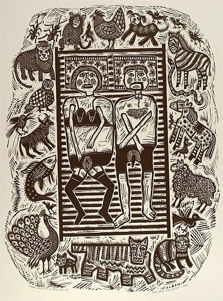 Artist: HANRAHAN, Barbara | Title: Adam and Eve in bed. | Date: 1989 | Technique: linocut, printed in black ink, from one block |