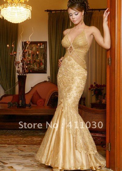 Trendy Free Shipping Custom Plus Size Mermaid Wedding Dresses Backless Halter Long Train Embroidery Gold Pink