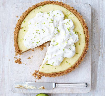 Key lime pie. Lime, cream and a buttery biscuit base - this zesty oven-baked treat makes a refreshing and indulgent end to a meal.