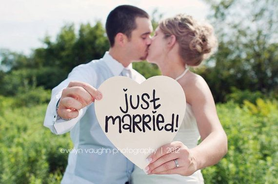 Just married wedding sign photography prop by for Just married dekoration