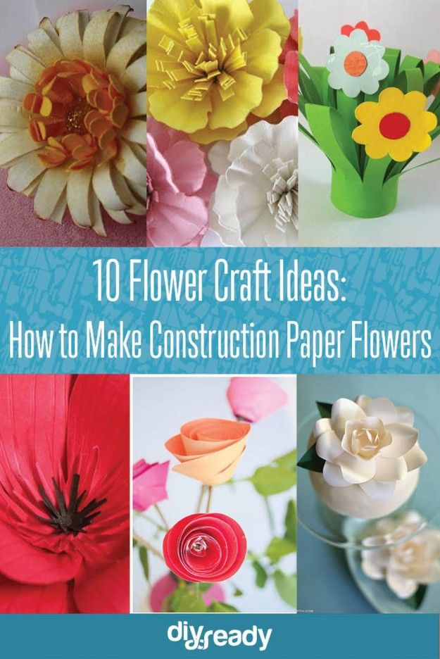 10 Flower Craft Ideas: How to Make Construction Paper Flowers! See them all at DiyReady