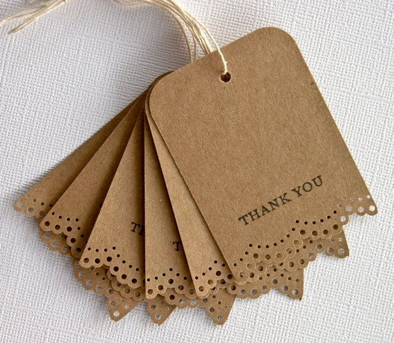 Wedding Favor Gift Tags Thank You Lace Trim Set of 25. $12.99, via Etsy.