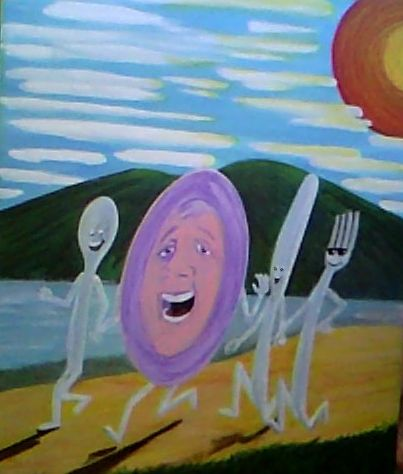 """WIP - The fork & Spoon booked it too! Acrylic 14 x 12"""" Aprox"""