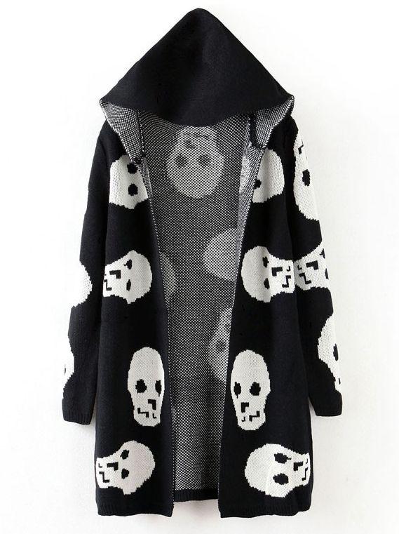 Black Hooded Long Sleeve Skull Pattern Cardigan - Sheinside.com