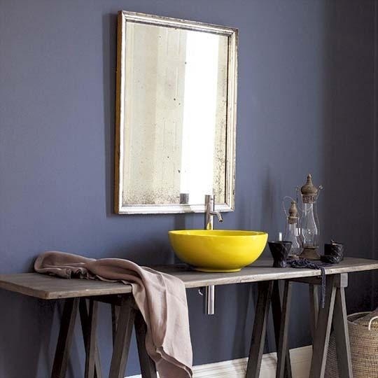 love the yellow sink - from apartment therapyWall Colors, Bathroom Design, Blue Wall, Interiors Design, Grey Wall, Colors Schemes, Bathroom Ideas, Dark Wall, Accent Wall