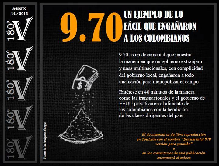Excelente Documental sobre como #Monsanto y sus secuaces de #EEUU privatizaron el alimento de los Colombianos con la bendición del gobierno y su clase dirigente.