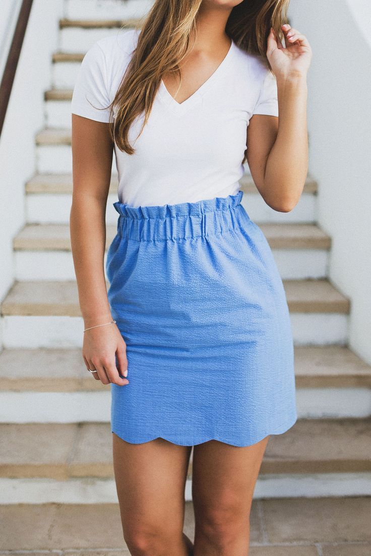 Say hello to your favorite everyday skirt! The elastic waist and scalloped hem makes this the most effortlessly preppy item in your spring wardrobe! With so many colors to choose from, you might just