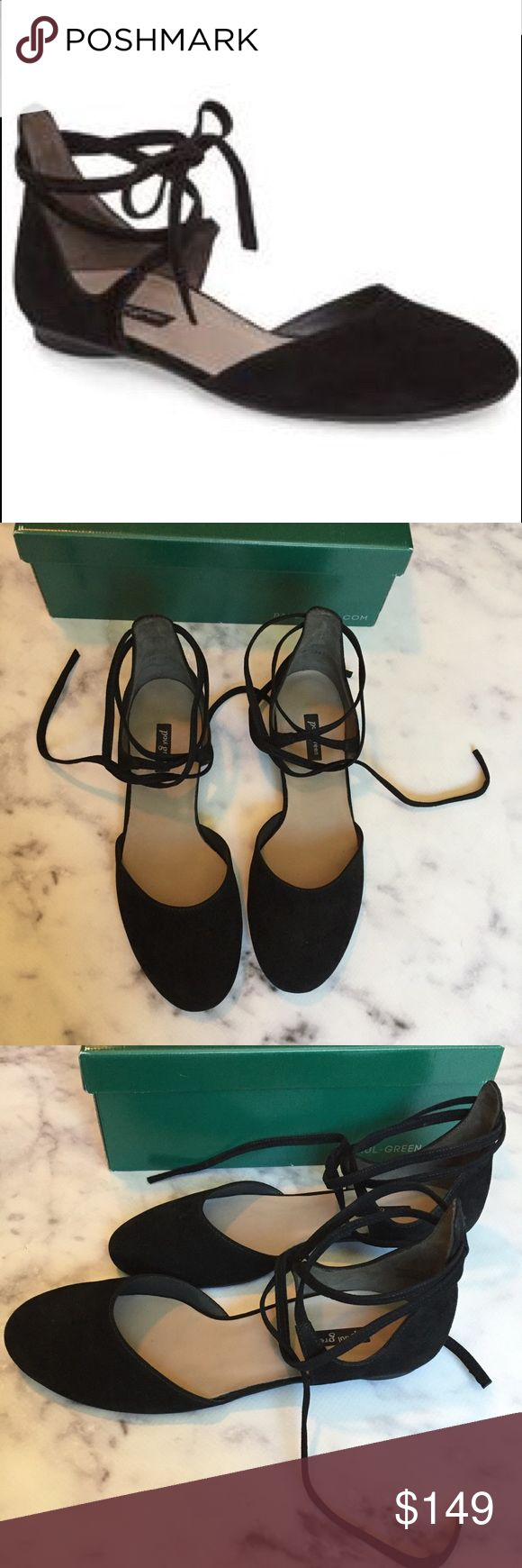 Paul Green NWB Suede Ankle Wrap Flats new with box black suede ankle wrap flats from Paul Green. super cute and comfy too! size 8.light sticker residue on soles but never worn. Paul Green Shoes Flats & Loafers