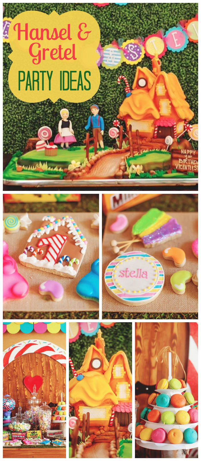 A Hansel & Gretel birthday party with an amazing gingerbread house backdrop and decorations! See more party planning ideas at CatchMyParty.com!