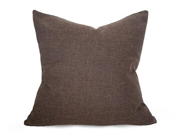 Dark Brown Pillow Herringbone Pillow Farmhouse Throw Pillow