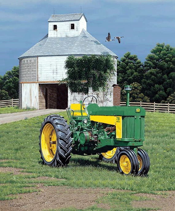 John Deere 730 and Barn