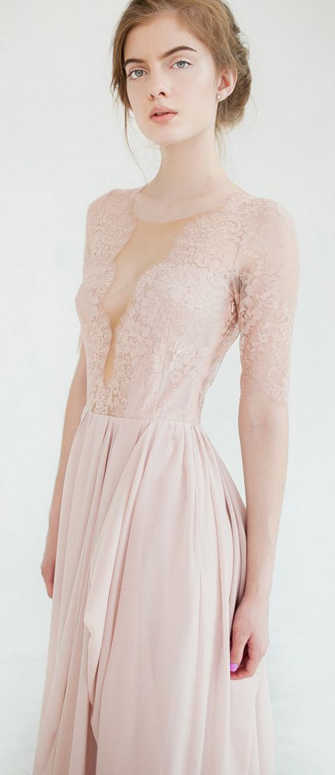 Blush beauty - LOVE this intricate detailing on this #handmade wedding gown