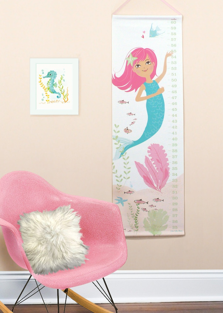 Mermaid Nursery Decor: Mermaid Canvas Growth Chart