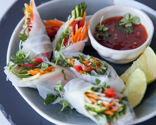 minty vegetable and rice paper roll canapes