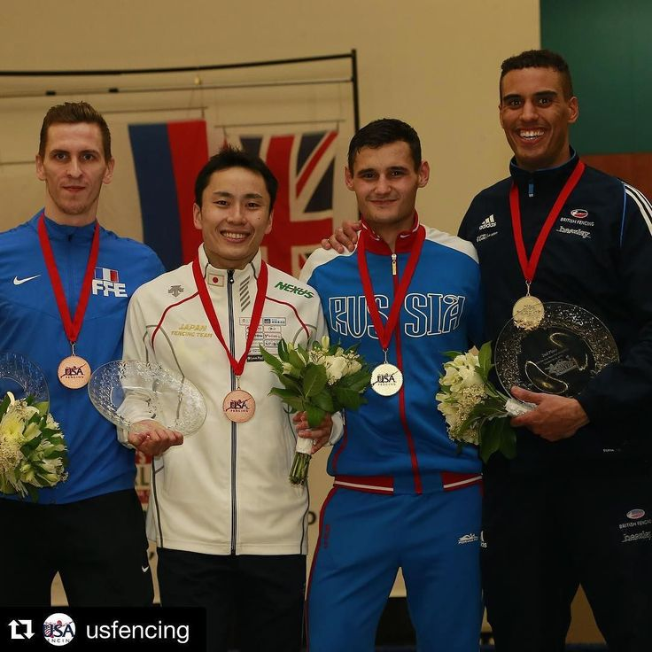Congratulations to the #SJWorldCup medalists: Jeremy Cadot (FRA) and Yuki Ota (JPN) gold medalist Timur Safin (RUS) and silver medalist James Davis (GBR)! Photo Credit: Serge Timacheff / FencingPhotos.com #fencing #foil #roadtorio by fencing_fie