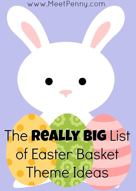 The REALLY BIG list of Easter basket themes! Tons of ideas for ways to stuff an Easter Basket for all ages based on their interests.