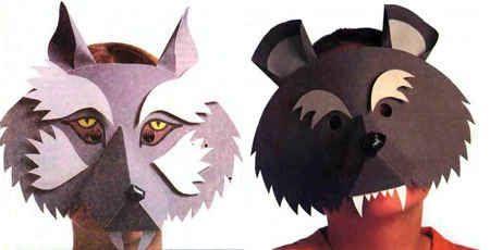 Маски волка и медведя из бумаги