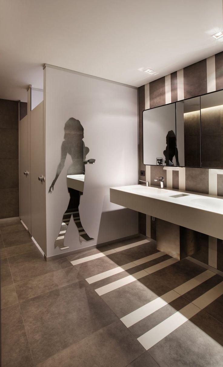 Women's restroom (profile mirror, yuck, but like the tile)
