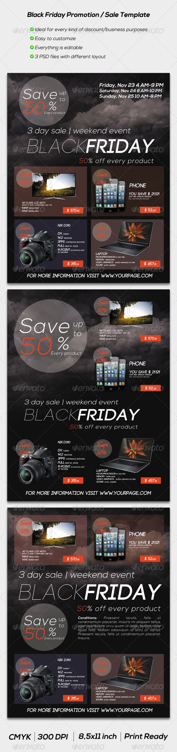 Black Friday Promotion / Sale Flyer Template #GraphicRiver Black Friday Promotion / Sale Flyer Template is ideal to promote your Company`s sale, promotion or discount campaigns. If you want professional, eye-catching, clean designed flyers, these premium templates could be a great choice for You. Can be useful for any type of shopping department, like: accessories, clothes, fashion, furniture, electronics, computers, office, appliances, gadgets, mobile phones, health or any other purposes…