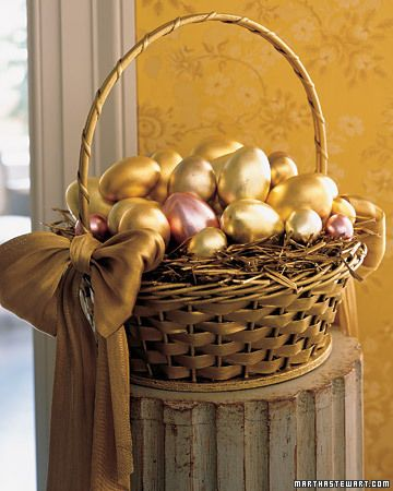 Spring baskets make delightful decorative accents for your home.: Golden Eggs, Golden Easter, Easteregg, Metals Eggs, Easter Decor, Easter Eggs, Easter Baskets, Pots Of Gold, Easter Ideas