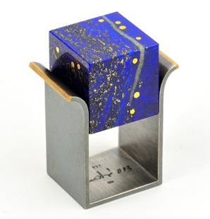 Helfried Kodré ring -   Helfried Kodré ring silver, gold,pure gold, lapsi lazuli No. 102214 galerie.slavik@vienna.at  http://www.galerie-slavik.com/
