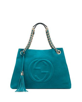 Soho Nubuck Leather Shoulder Bag, Turquoise by Gucci at Neiman Marcus.  $1,590.00