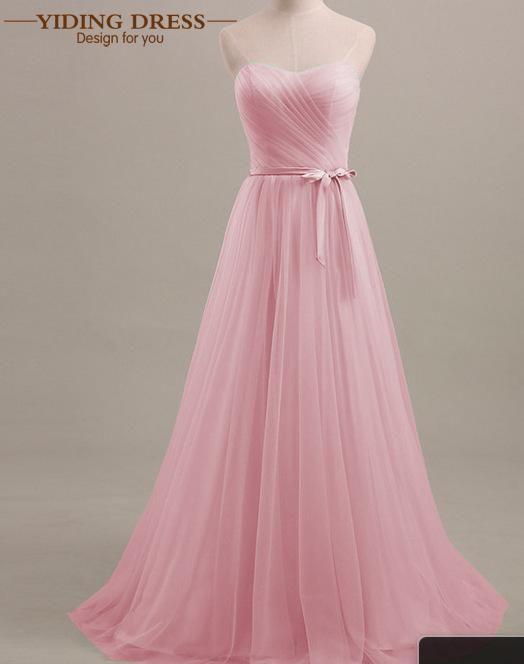 Tulle Menta/Púrpura/Color de Rosa Plisado Largos Vestidos de Dama de 2017 Bajo 50 Vestido de Fiesta de Bodas