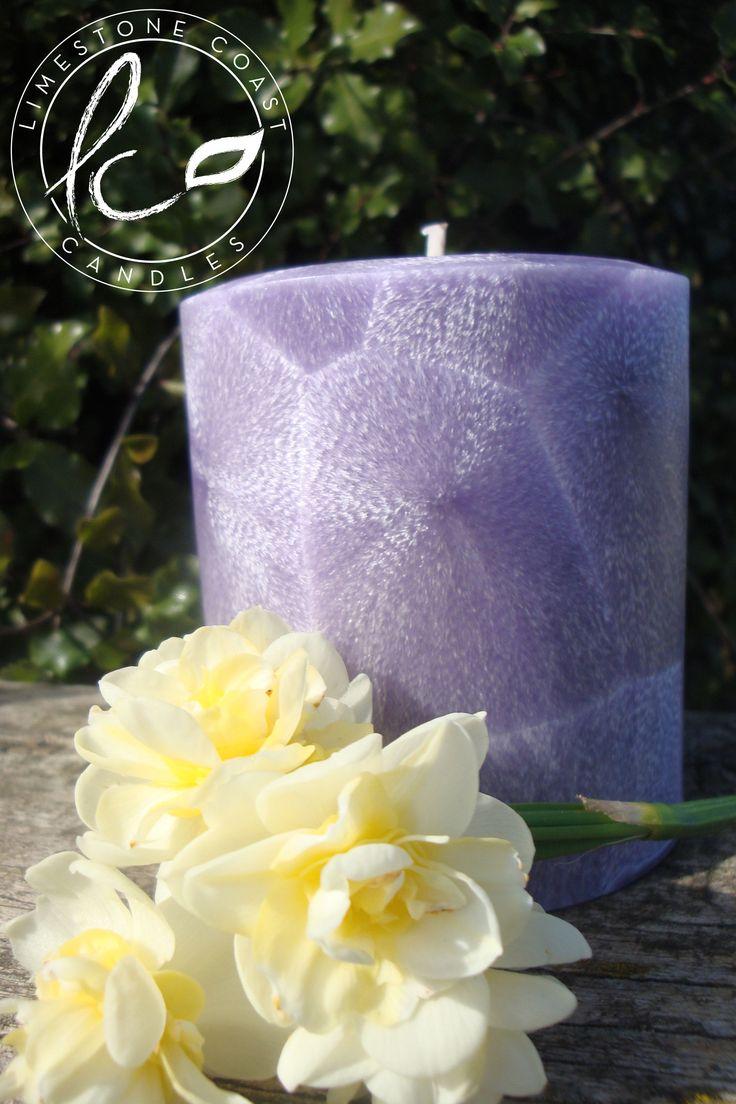 Hidden Fantasy- Small purple textured pillar candle
