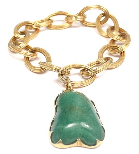 Extremely RARE Authentic M Buccellati 18K Yellow Gold Jade Charm Link Bracelet | eBay - $14,725